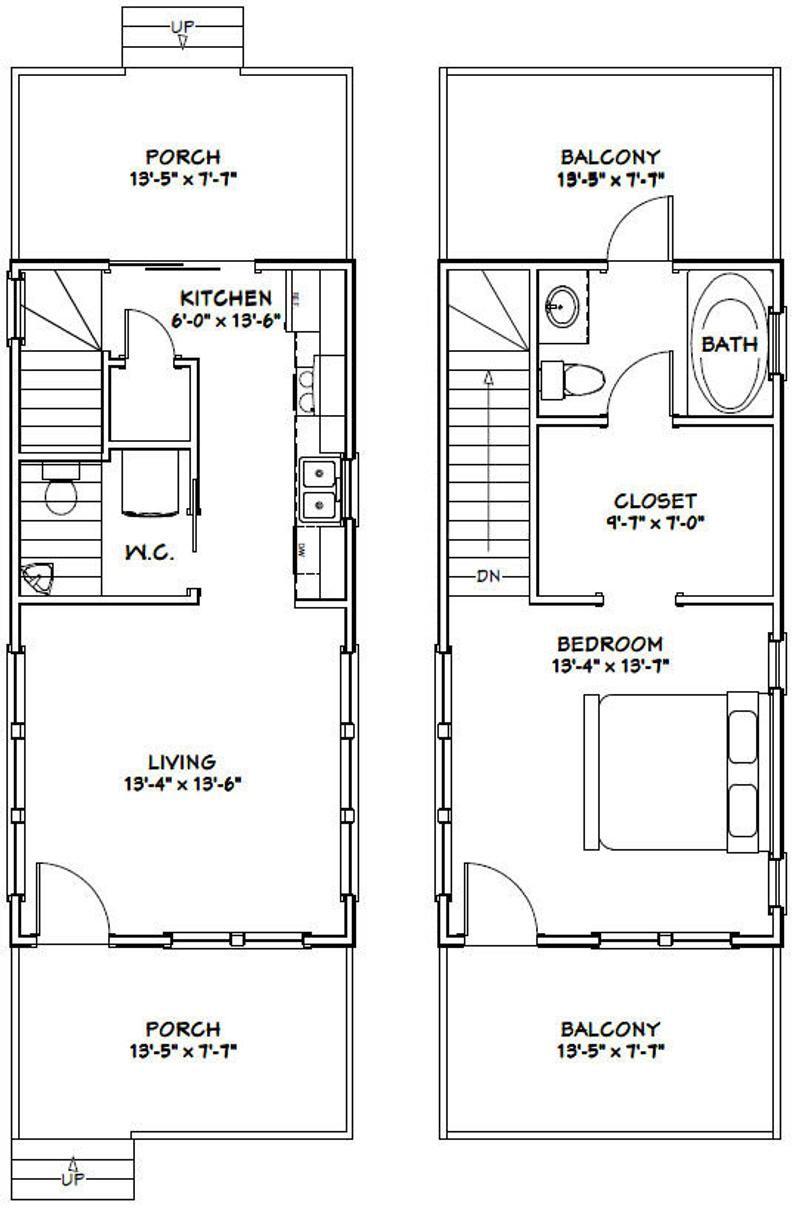 Room Floor Plan Designer Free: 14x28 House -- 1-Bedroom 1.5-Bath -- 749 Sq Ft -- PDF
