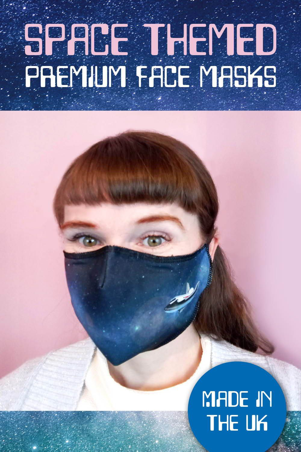 Premium Face Mask with Filter and Nose Wire Space Themed