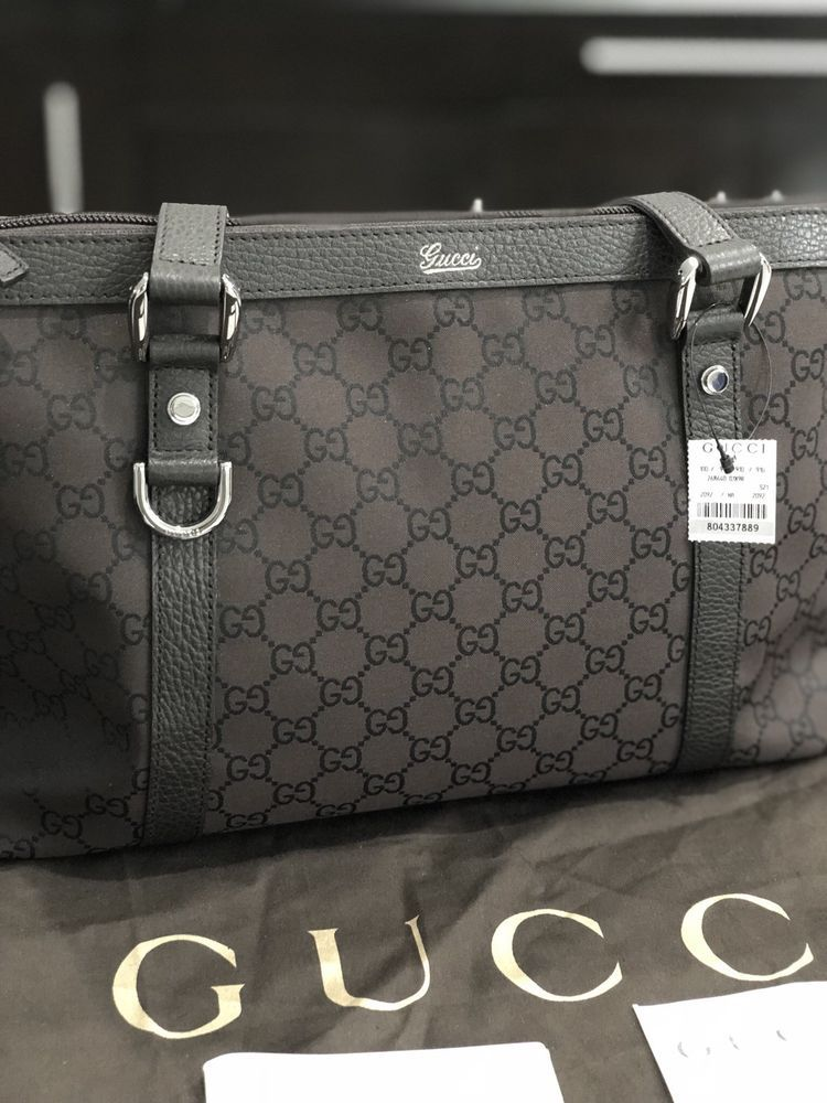c02c8f8f3ae832 Gucci Abbey D Ring Black Brown GG Monogram Canvas Tote Bag ...