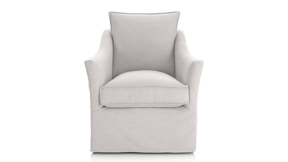 Keely slipcovered swivel chair from crate n barrel chair