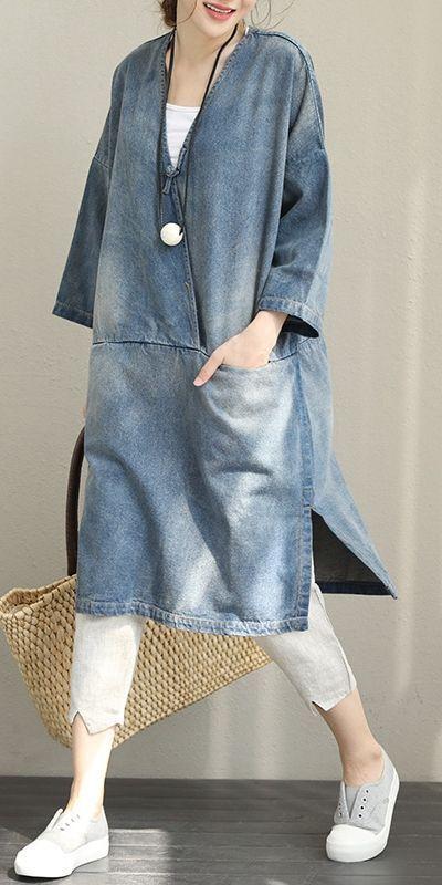Photo of Vintage Loose Blue Denim Dresses Women Cotton Fall Outfits Q1388 – Derya İnci Özden