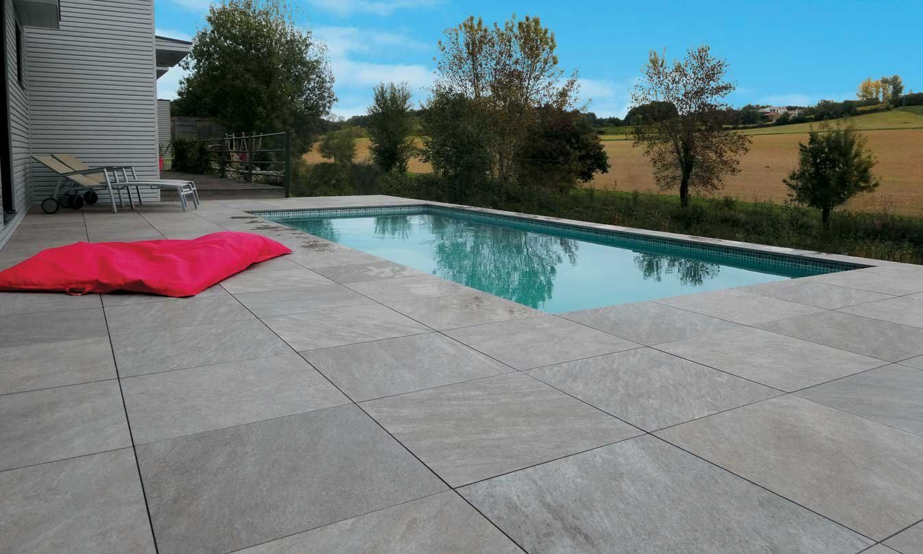 Mirage Evo Quarziti Waterfall Stone Look 20mm Thick Porcelain Pavers Available At Ceramo Private Villas Stone Around Pool Backyard Pool