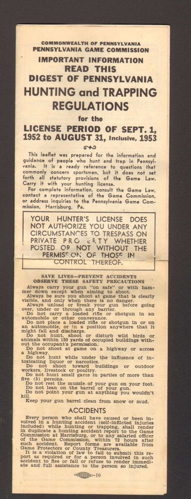 1953 Pennslyvania Game Comminnsion Digest of PA Hunting and