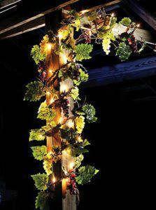 Lighted Grape Leaf Garland Country Vineyard Kitchen Decor