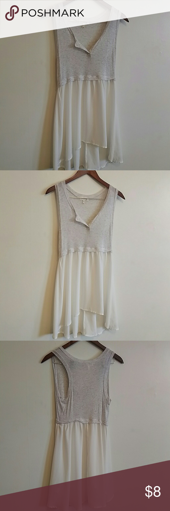 Flowing sheer tank top Grey sheer top with a white flowing layer on the bottom. Very soft, forming fit with a flowing white layer. Monteau Tops Tank Tops