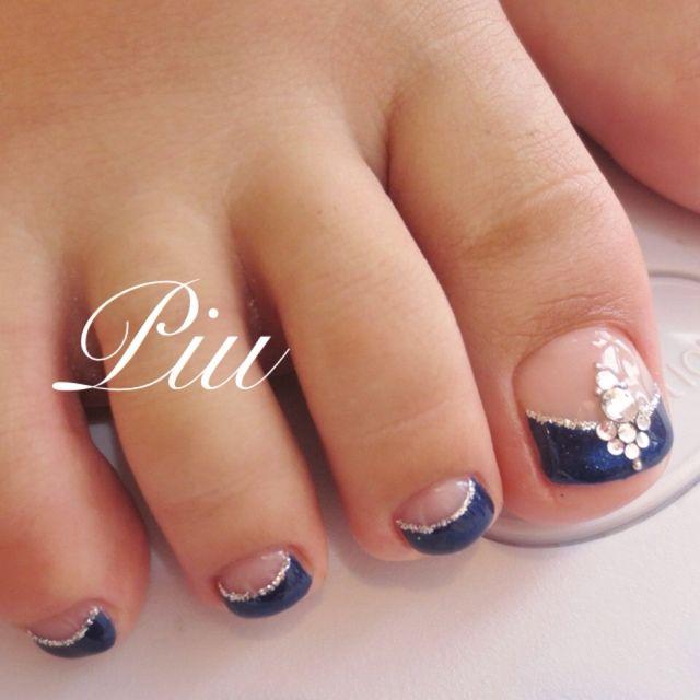 darkblue french toe nail art