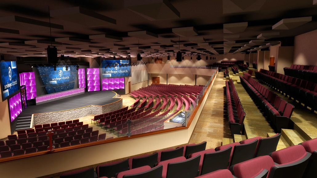 3d rendering for modern church theatre interior design