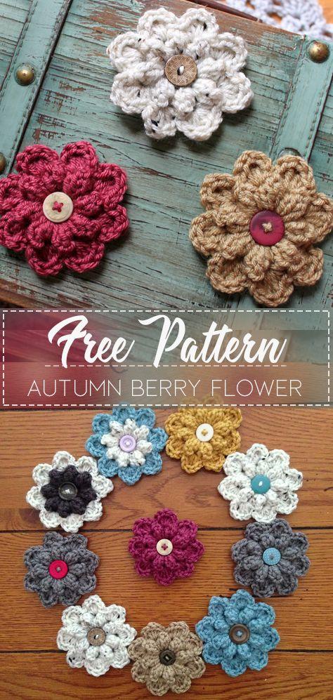 Autumn Berry Flower – Pattern Free  #crochetflowers