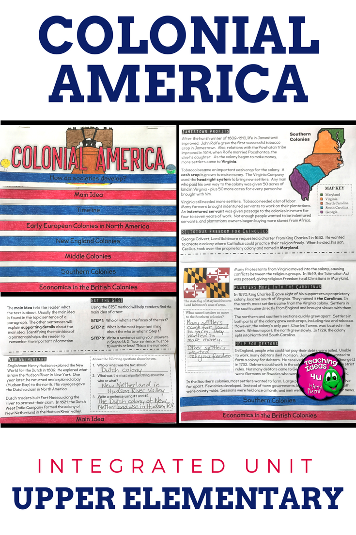 Colonial America Unit Informational Texts Maps