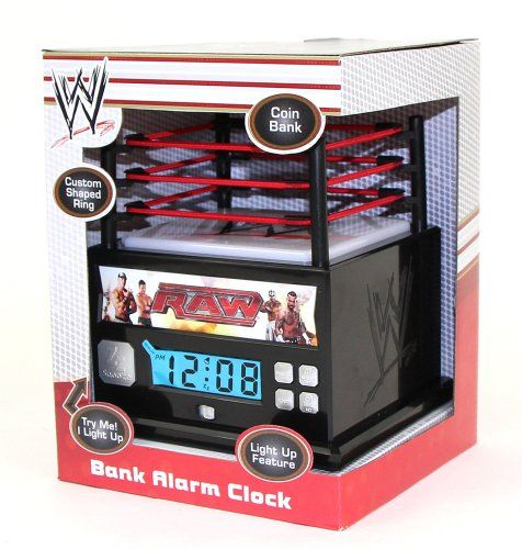 WWE Raw Wrestling Ring Alarm Clock Bank with Light Up Mat WWE http. WWE Raw Wrestling Ring Alarm Clock Bank with Light Up Mat WWE http