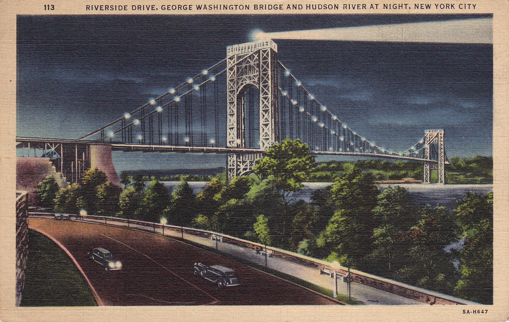 This postcard showing the Great Gray Bridge, aka the George Washington Bridge, was mailed from NYC to an address in Pennsylvania in 1938.