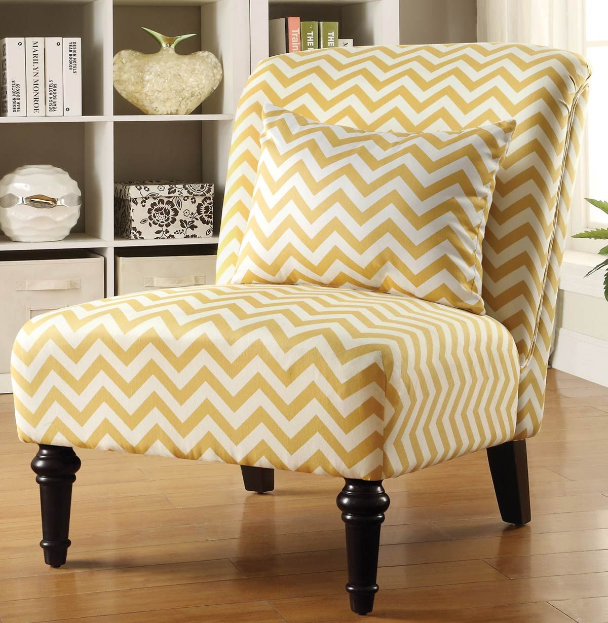 Charmant Coaster 902019 Accent Chair   White/Yellow Chevron These Beautiful Accent  Chairs With Classic Legs