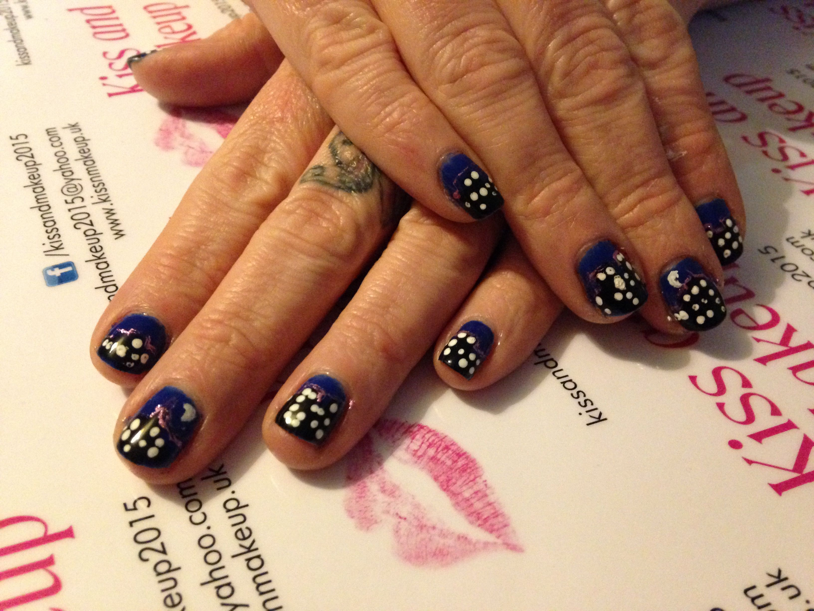 Manicure and freehand Skyline night sky nail art for when the nights ...