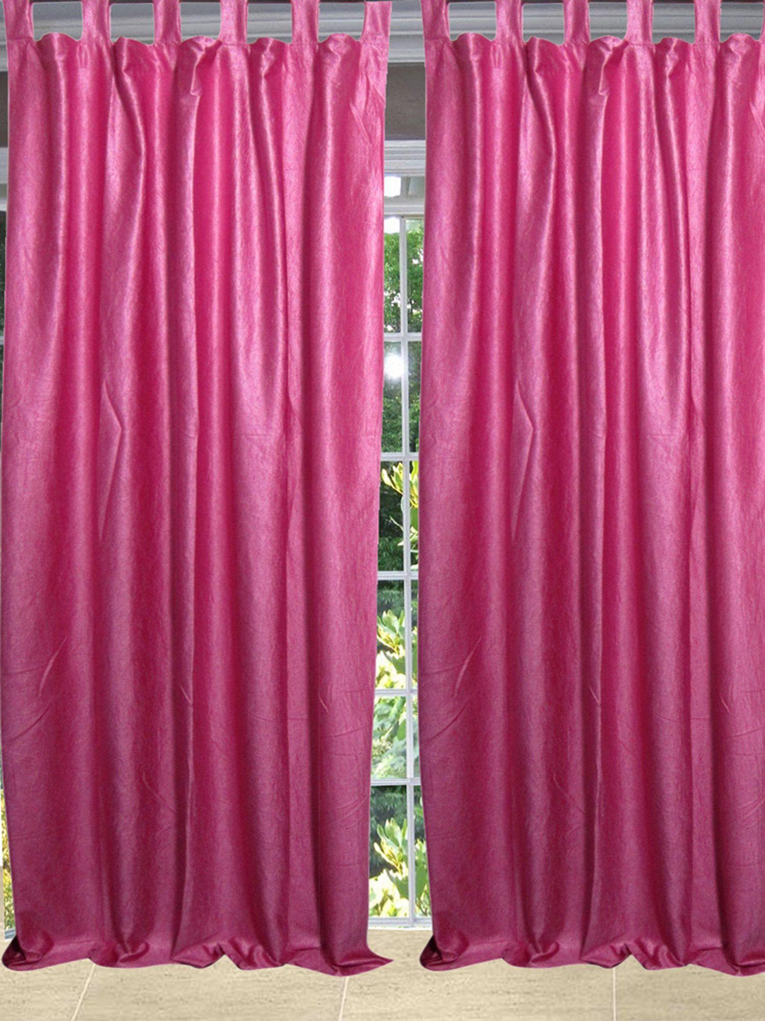 Pink Sari Curtain Solid Drapes Panel Rod Pocket Pair Of Window