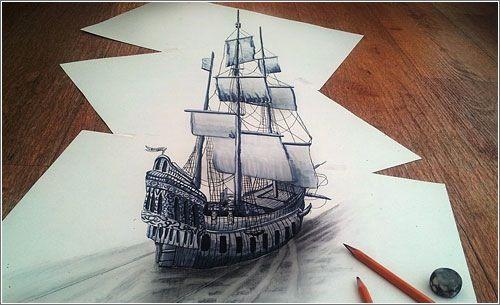 No Lo Parece Pero Este Barco Esta Dibujado A Lapiz En Papel Microsiervos Arte Y Diseno Dibujo De Ilusion Optica Dibujos 3d Arte Y Diseno