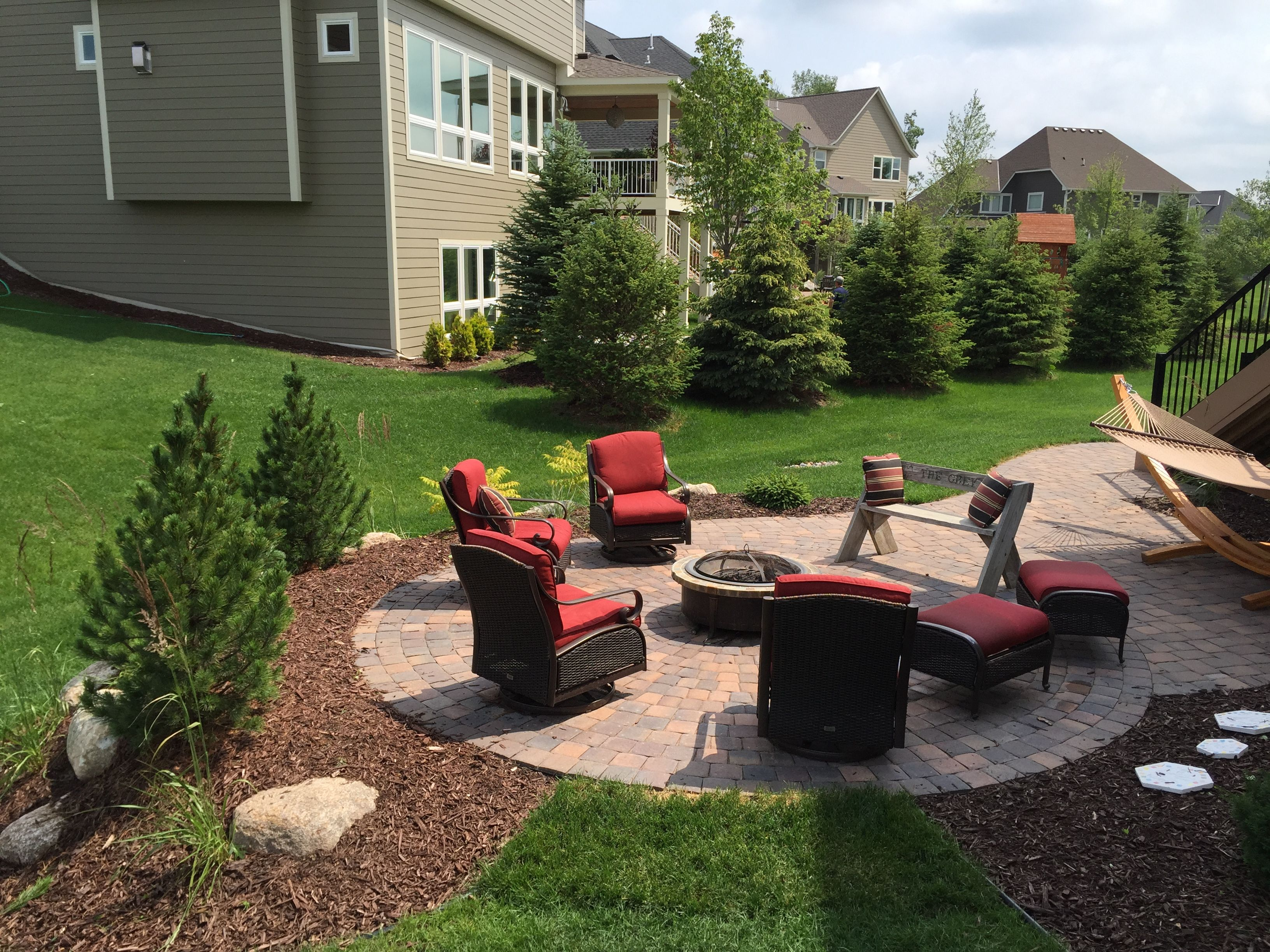 patio off deck with privacy plantings fire pit and hammock sarah rh pinterest com