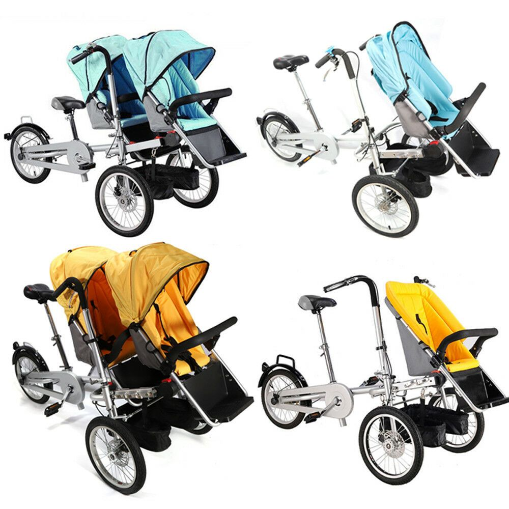 "3in1 16/"" Portble Bicycle Baby Bike Stroller Pushchair Carrier Single/&Double Seat"