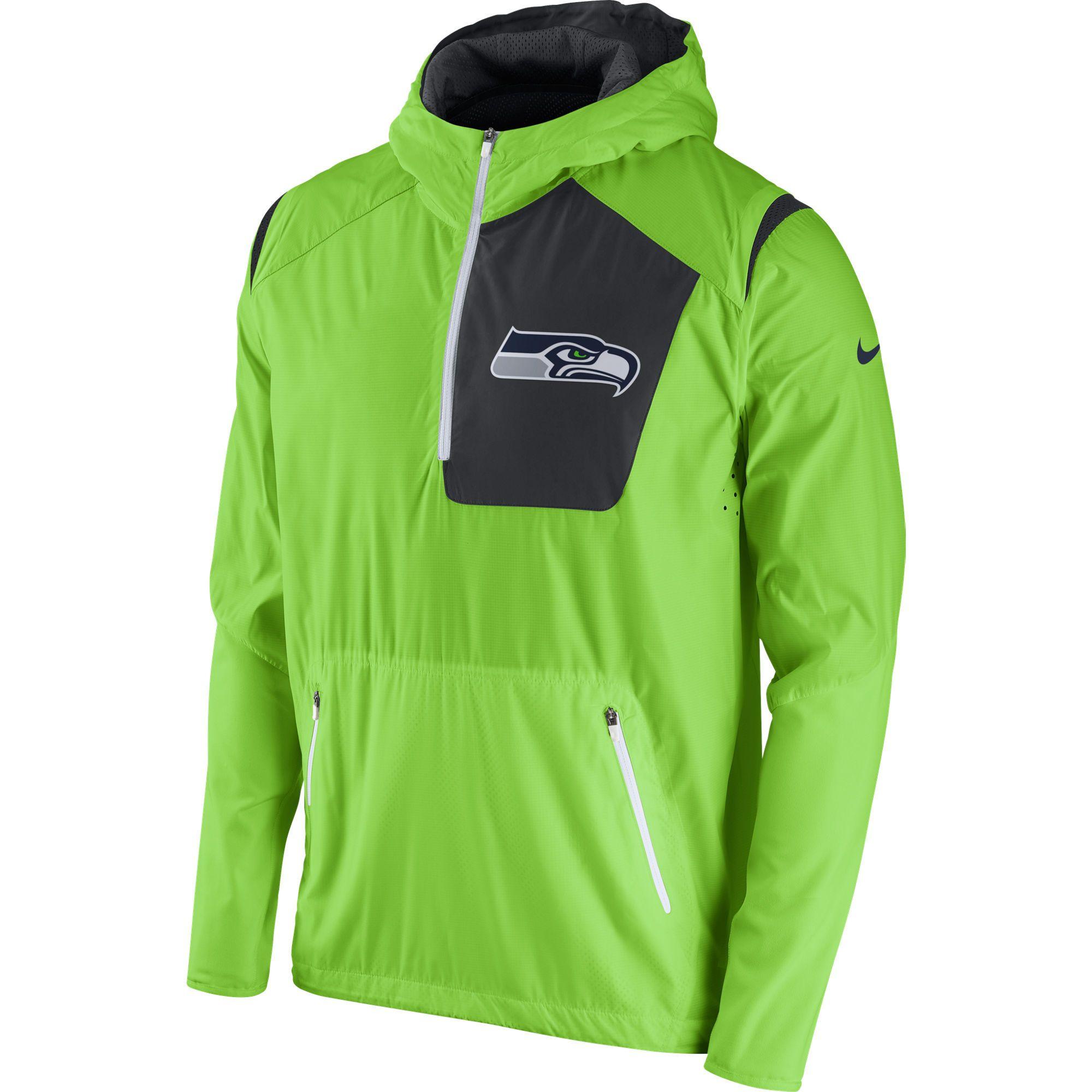 Men s Nike Neon Green Seattle Seahawks Vapor Speed Fly Rush Half-Zip Jacket d1a8a7e21