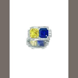 An unusual fancy coloured diamond, sapphire and diamond ring,