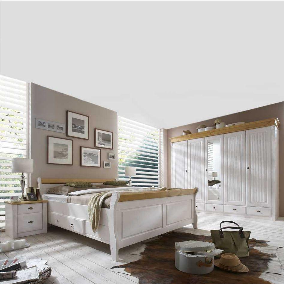 komplettes schlafzimmer aus massivholz im landhausstil in weiß und ... - Schlafzimmer Ideen Hell