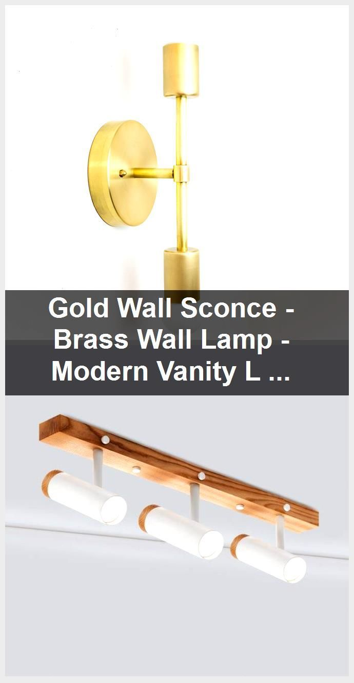 Photo of Gold Wall Sconce – Brass Wall Lamp – Modern Vanity Lighting – Industrial Light – Bathroom Fix…