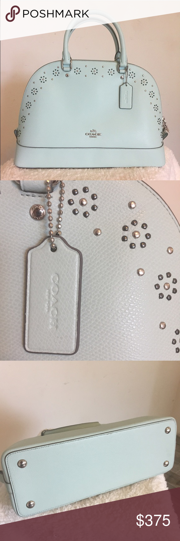 NWT: 💋Last Day💋 COACH Border Mint Green Bag Flat bottom, structured, mint green Coach tote/cross body bag. Bordered with gun metal and silver studs. Never been carried, tag and care instructions included. Coach Bags Satchels