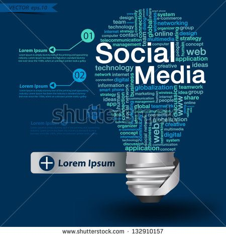 Creative light bulb with social media concept of word cloud, Vector