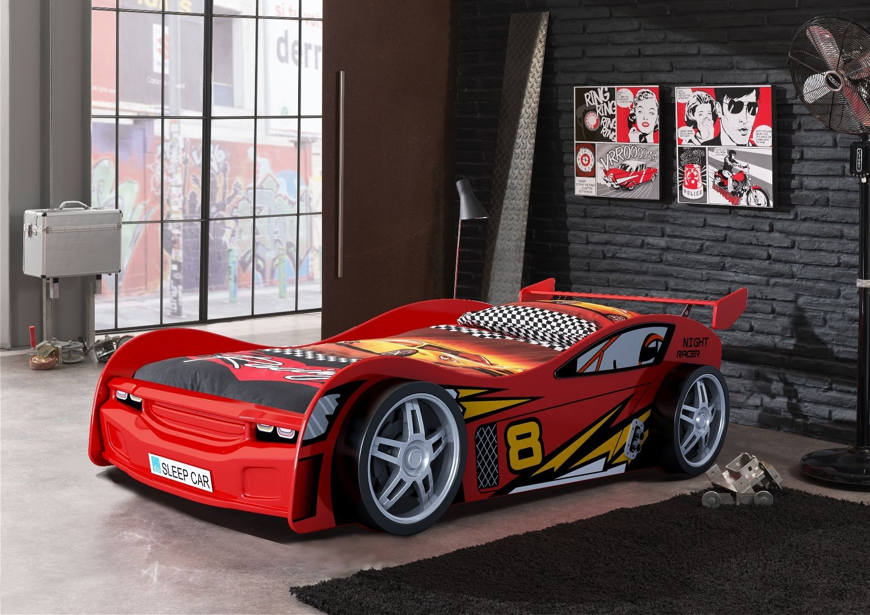 night racer kids car bed with racing themed linen and garage style dcor available at forty winks