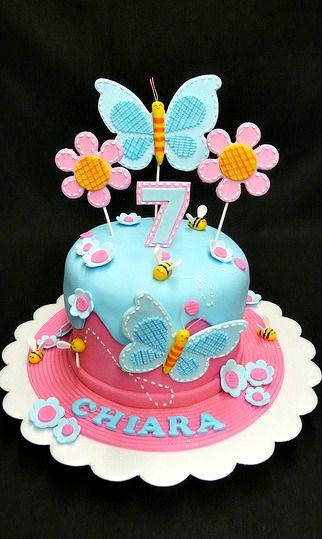 Peachy Butterfly Cake With Images Butterfly Birthday Cakes Butterfly Personalised Birthday Cards Petedlily Jamesorg
