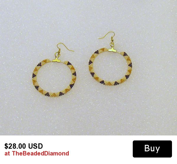 Beaded Pierced Style Hoop Earrings In Golds, Tans, and Browns