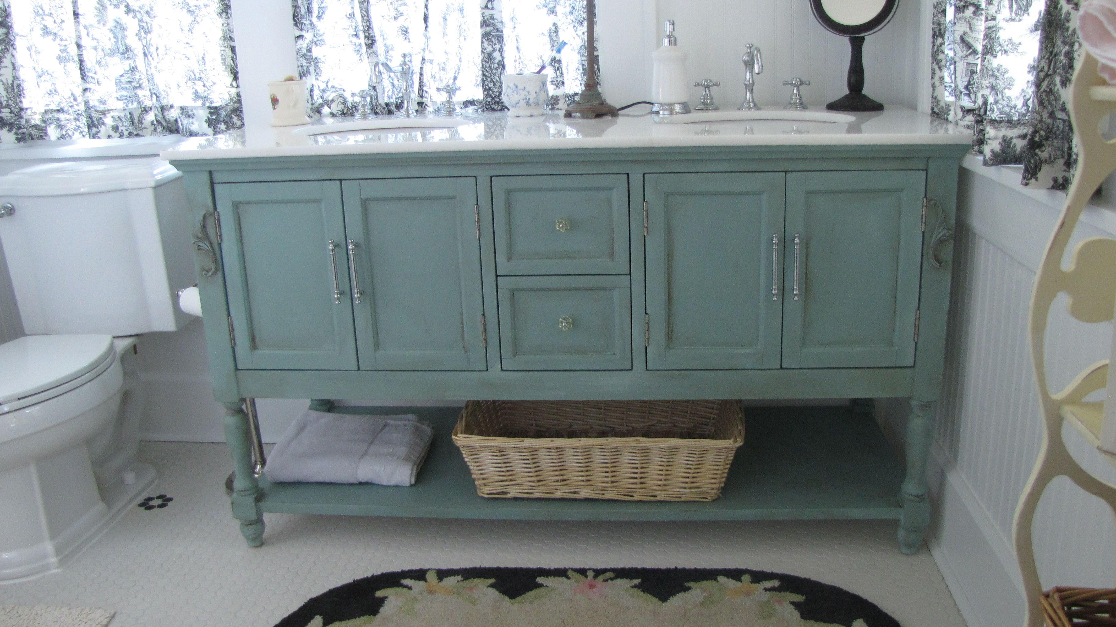 example duck egg blue vanity with dark wax  used this as