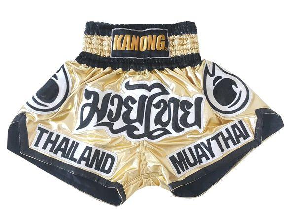 9f7eb0bc23 Kanong Muay Thai Shorts : KNS-118-Gold | Muay Thai | Muay Thai, Thai ...