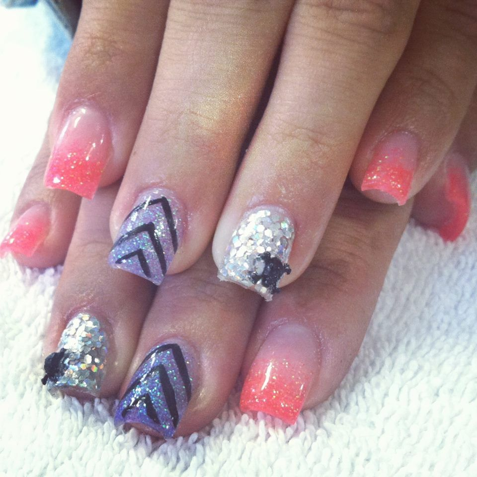 Summer Acrylic Nails. Coral, silver, purple. Chevron and acrylic 3D ...