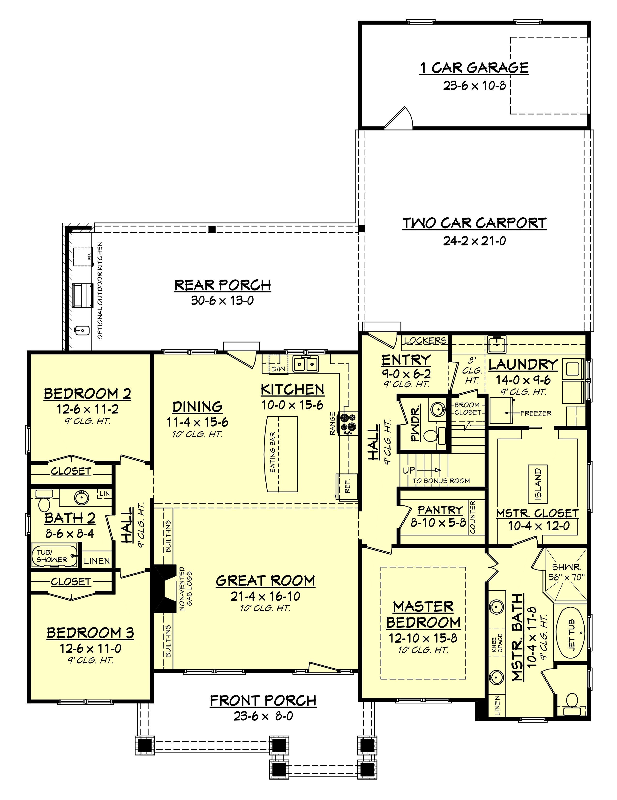 Elmwood court house plan mudroom curb appeal and lockers for House plans with mudroom