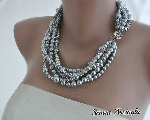 Weddings Crystal and Silver Pearl Necklace  brides,  bridesmaids gifts on Etsy, $106.00