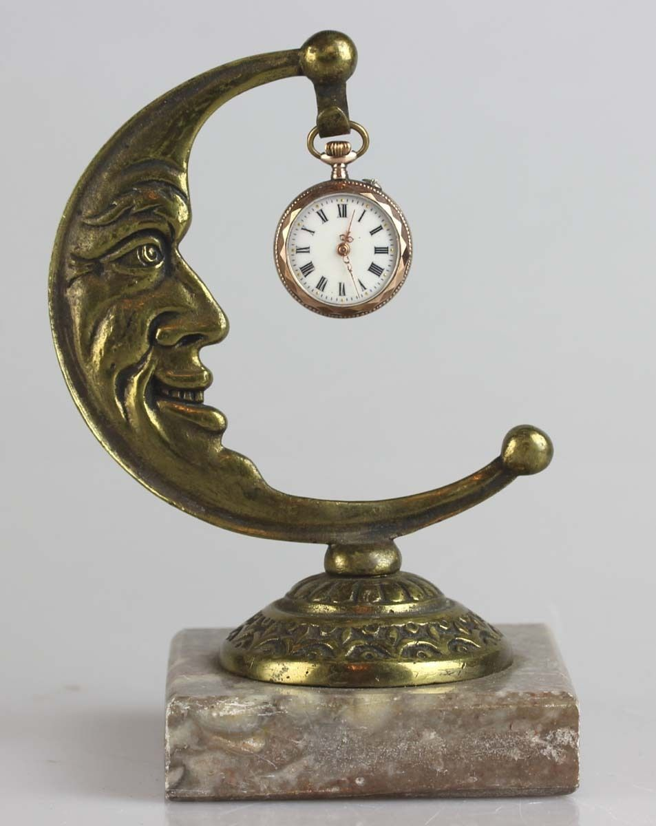 Magnificent Antique Moon ART Nouveau Pocket Watch Holder Brass ON Marble Base | eBay