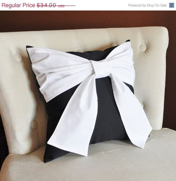 MOTHERS DAY SALE Throw Pillow White Bow on Black Pillow 14x14