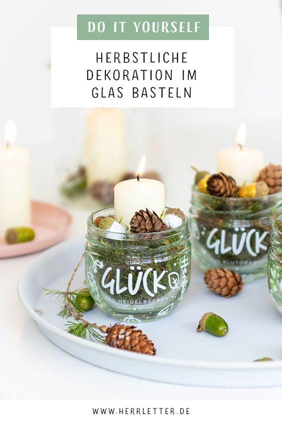 DIY Herbstliche Dekoration im Glas basteln