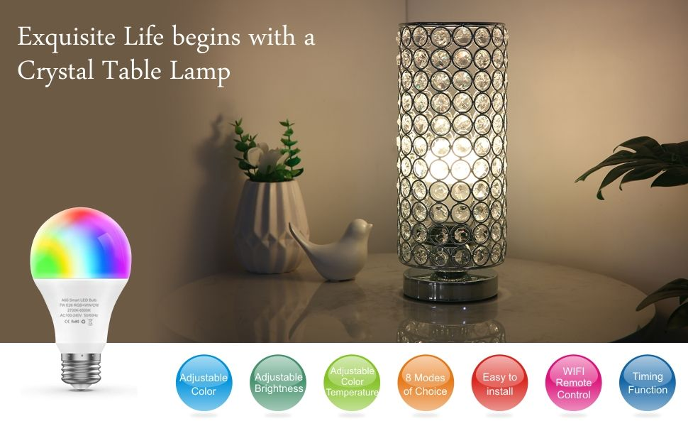 Amazon Com Zeefo Crystal Table Lamp With Wifi Smart Led Bulb 7w Dimmable Color Changing Li Color Changing Light Bulb Color Changing Lights Crystal Table Lamps