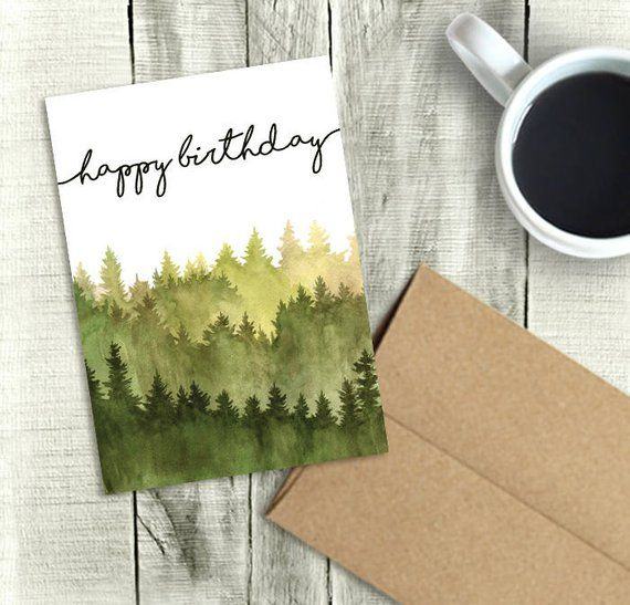 Printable Birthday Card For Him Happy Watercolor Forest PDF Instant Download 5x7 Greeting Dad Brother Husband Grandpa