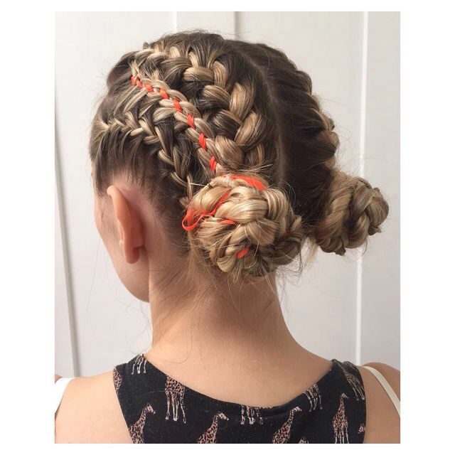 French braids with Feathered Accents used to create the two