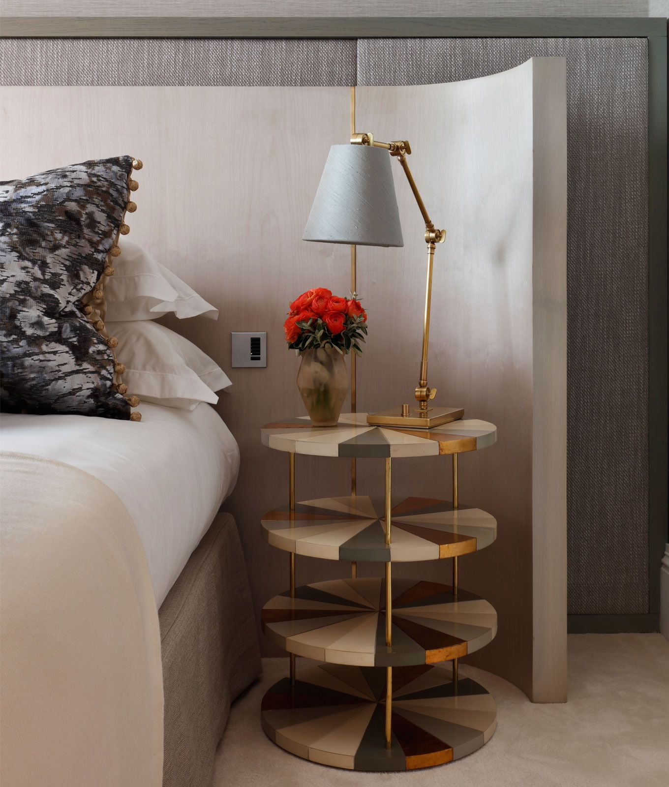 1 Bedroom Apartment Chelsea New York: Bespoke Bedside Table In Modern Bedroom Interior In King's