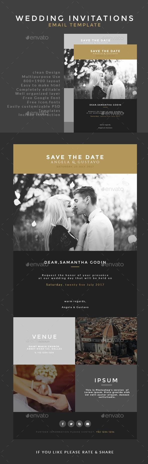 Wedding Invitation Email Template Weddings and Wedding