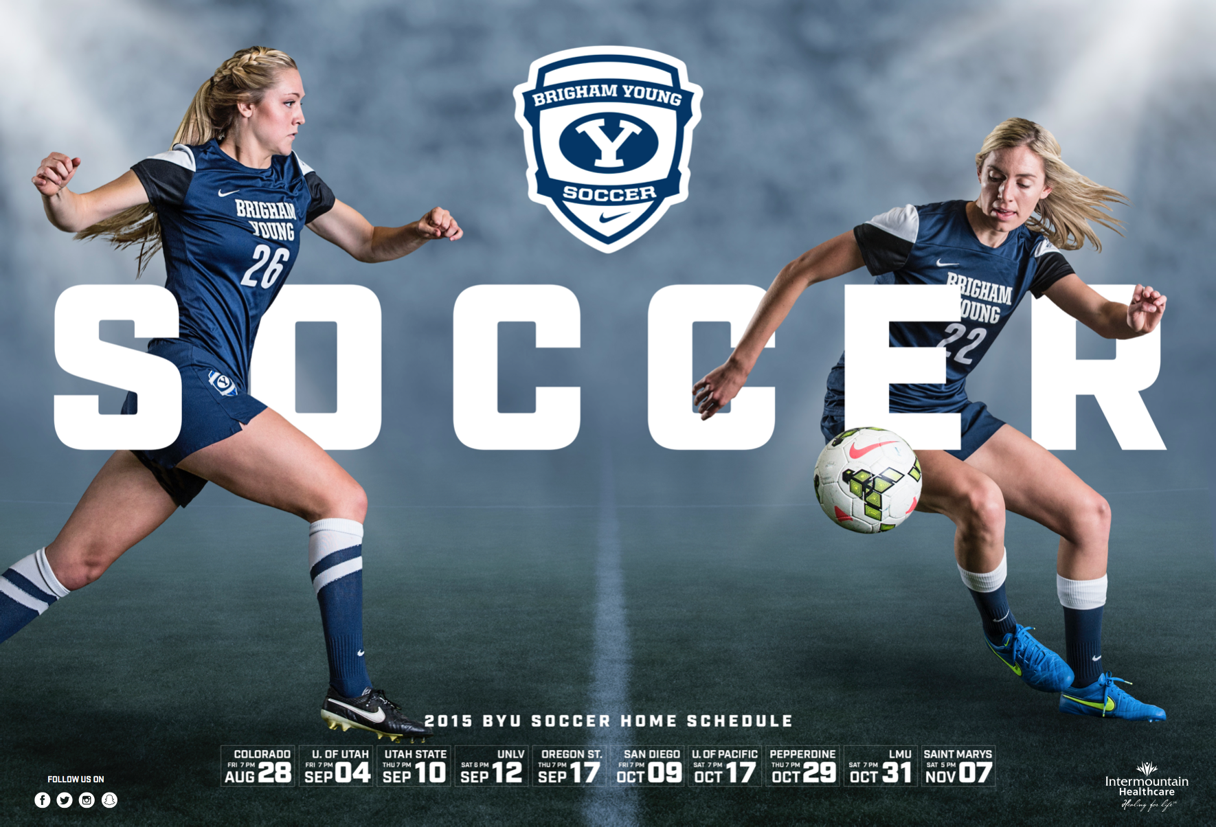 Byu Women S Soccer 2015 By Dave Broberg Soccer Womens Soccer Sports Graphics