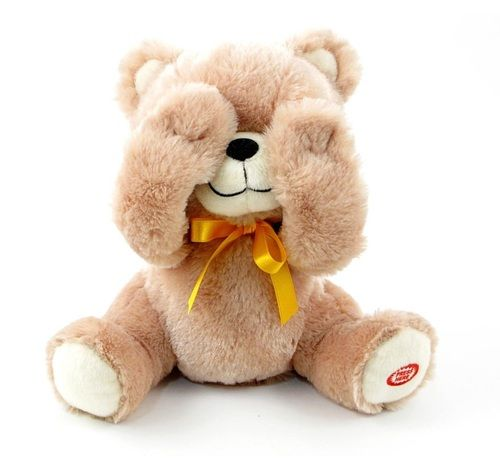 9780c5ca637 PEEK-A-BOO TEDDY BEAR. Super cute Teddy Bear that hides behind his paws.  When you press his paw he shows his face and says PEEK-A-BOO and giggles so  much ...