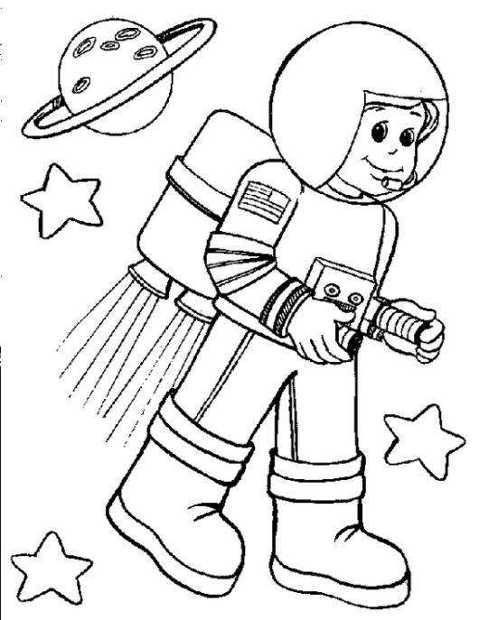 little astronaut and planet coloring book | Profession Coloring ...