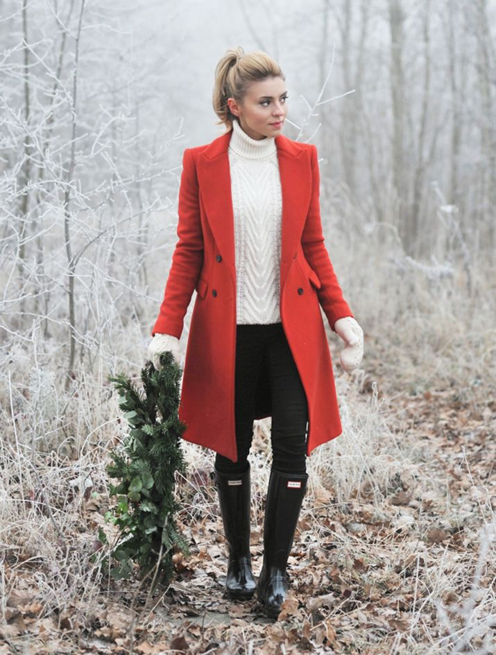 What To Wear With Red Coat | Down Coat
