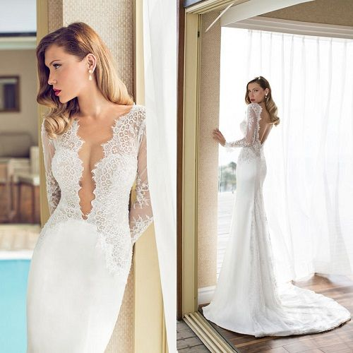 Wowser Look At This Plunging Neckline Wedding Dress