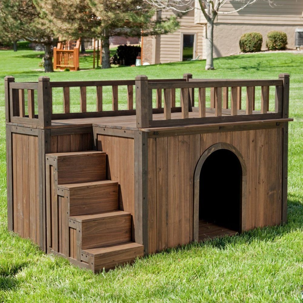 Large Dog House With Stair Rooftop Outdoor Steps Roof 48x32 Wood Pet Kennel Unbranded Wood Dog House Cool Dog Houses Dog House Diy