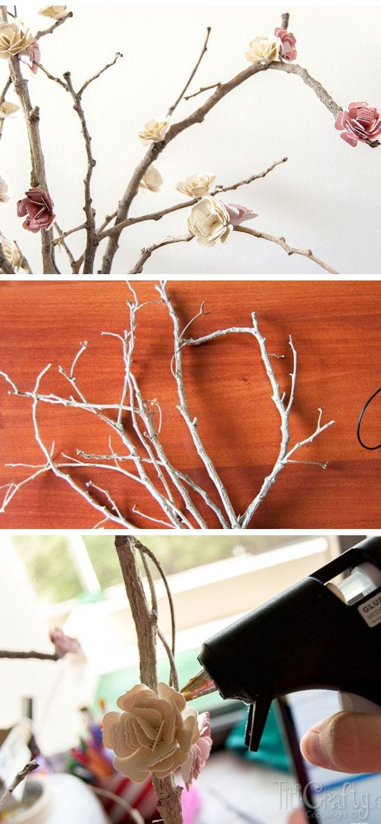 Paper Flowers Blossom Branches | 35 DIY Fall Decorating Ideas for the Home | Fall Craft Ideas for Adults